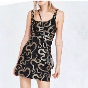 Ecote Urban Outfitters Gold & Black Snake Dress S